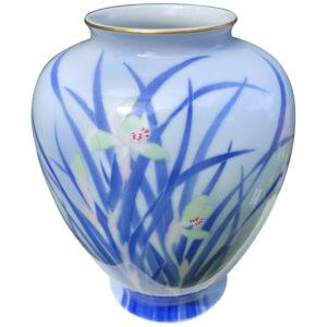 Blue Fukagawa Iris Vase
