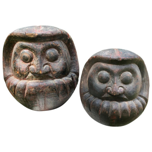 carved Daruma wooden good luck sculptures