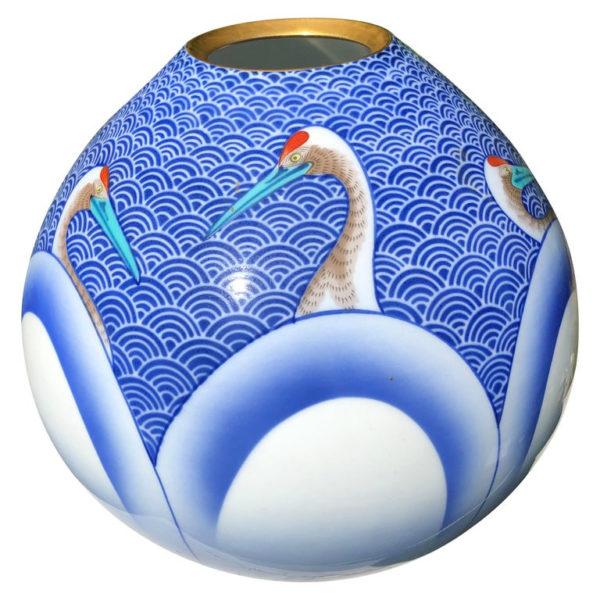 Blu & White Cranes Vase