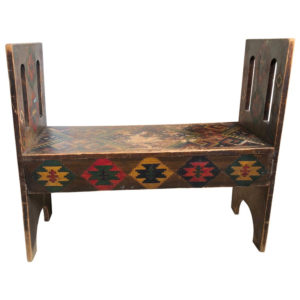 Native American Painted Wood Bench