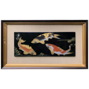 Black & Gold KOI Framed Lacquer Panel