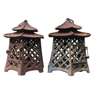"Antique Pair Lanterns ""Double Pagoda"" Motif"