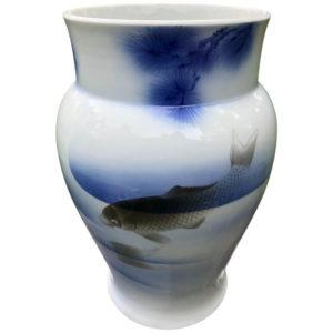 Triple Koi Fukagawa Vase