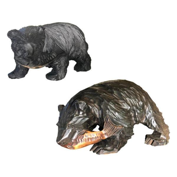 Bears and Salmon Catch Fine Pair Hand Carved Cryptomeria Wood, Ainu