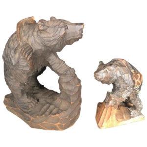 Bears & Salmon Catch Fine Pair Hand-Carved Cryptomeria Wood, Ainu