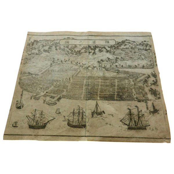 Antique Map & View Of Yokohama, 1861, Rare Early Woodblock print