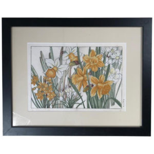 "Framed Woodblock Antique Flower Print ""Daffodils"""