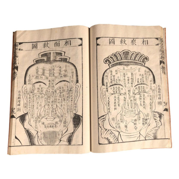 """Japanese Antique """"Face Reading & Palmistry"""" Woodblock Book, 32 Prints"""