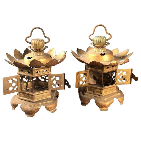 Gold Lotus Flower Lanterns