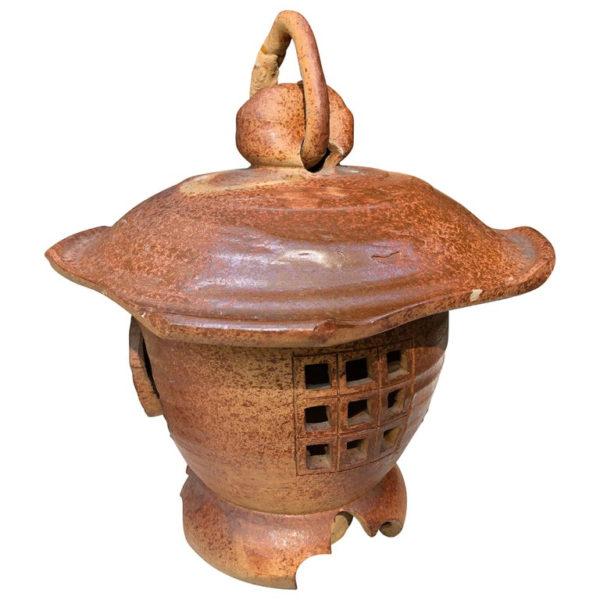 Japanese Antique Hanging Stoneware Lantern One-of-a-Kind Takayama Find
