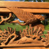 "Japanese Fine Antique Hand Carved ""Magnificent Cranes In Flight"" Garden Screen"