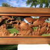 "Antique Hand Carved ""Magnificent Cranes Pair"" Garden Screen Signed"