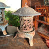 "Tall Round Garden ""Iris, Flowers & Vines"" Lanterns Pair"