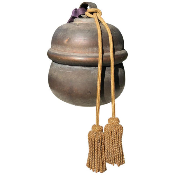 Antique Bold Sound Shinto Suzu Temple Bell+ Tassels & Long Display Cord