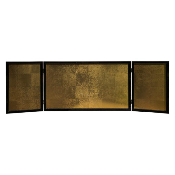 Small folding Gold Leaf and black lacquer tea screen