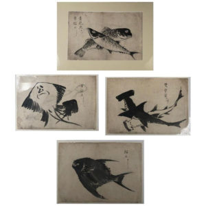 "Four Antique ""Fish"" Hand Painted Sumi Ink Original Drawings, Frameable"