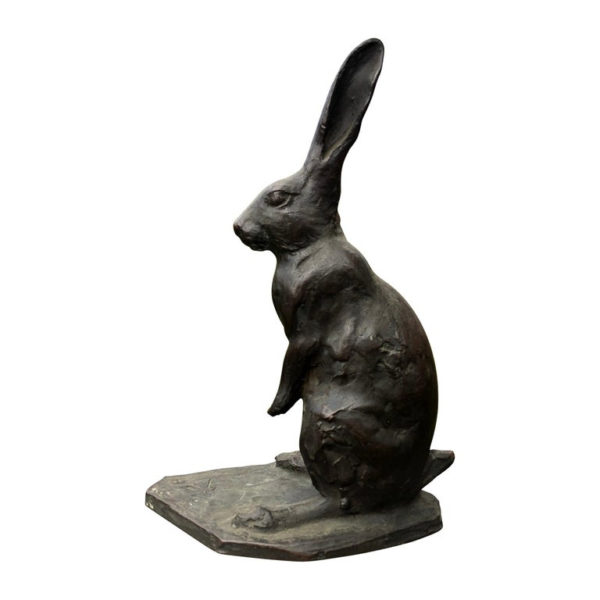 Tall Old Bronze Rabbit With Chocolate Patina & Fine Details, Signed