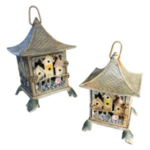 """Flower & Bird Houses"" Tea Garden Lanterns Pair"