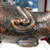 "Japanese Trio Three Antique Hand Carved Wood Koi Good Fortune Fish 19thc 12""-24"""