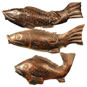 "Japanese Trio Three Antique Hand Carved Wood Koi Good Fortune Fish 19thc 12""-24"""