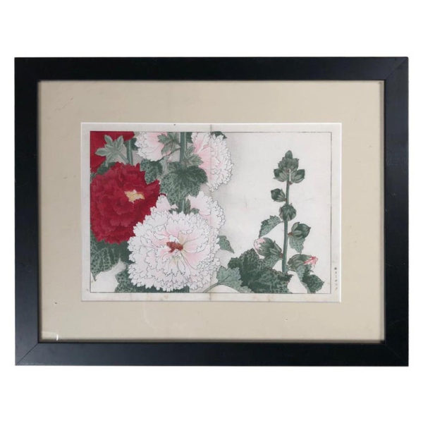 "Vibrant framed Woodblock Antique Flower Print ""Hollyhock"""