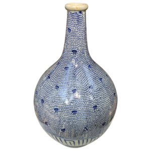 "Big 14"" Antique Brilliant Blue Painted Vase, Karakusa Vines"