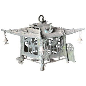 Tea House Bronze BIRDS & DRAGONFLIES Garden Lantern, 100 Yrs Old
