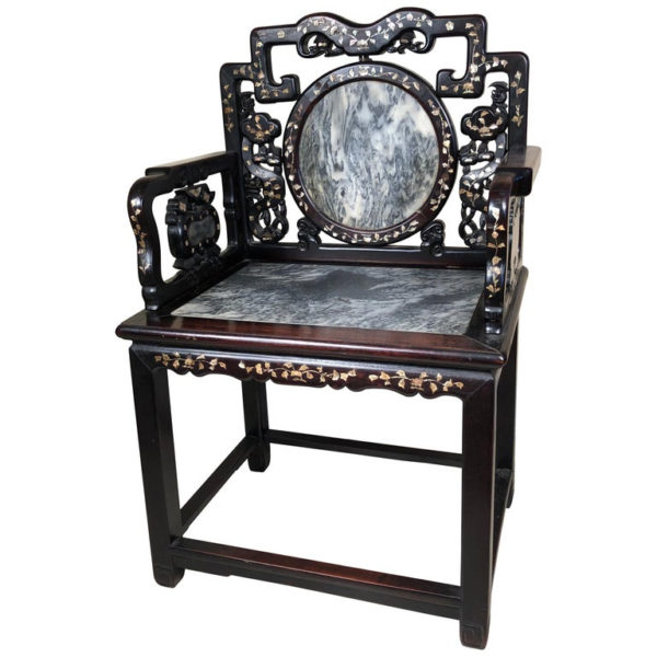 Antique Natural Dream Stone Chair with Butterfly Inlays