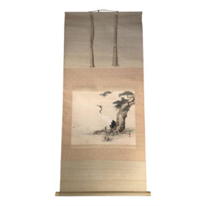 "Hand-Painted Silk Scroll ""RED CRANE"""