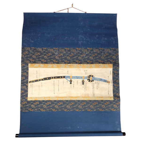 Antique Samurai Sword Hand Painted Scroll Brilliant Blue