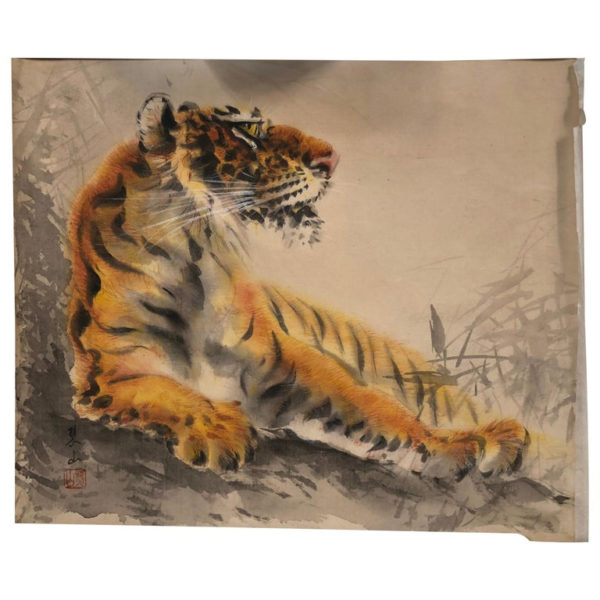 """Antique Bold Hand-Painted """"STEALTH TIGER"""" Silk Painting"""