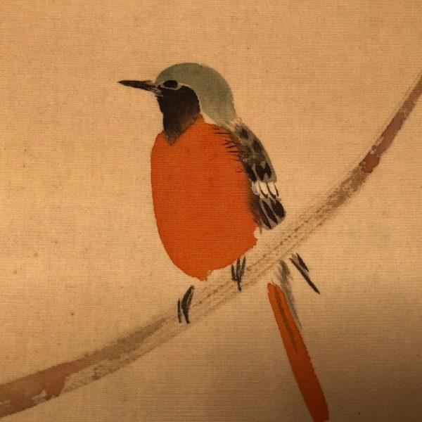 "Delicate Hand-Painted ""SINGING WARBLER"" Silk Bird Painting"