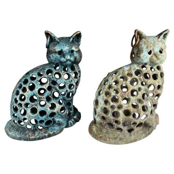 "Charming Pair of ""BLUE CATS "" Garden Lanterns"