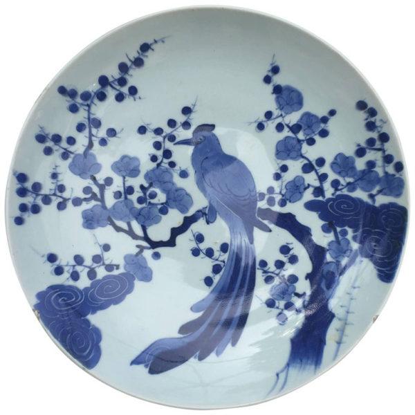Blue & White Porcelain Bird Charger