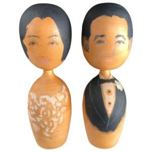 """Big Old """"BRIDE & GROOM"""" Kokeshi Dolls"""