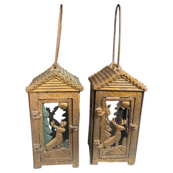 """Deer & Pine Tree Moon"" Tea Garden Lanterns Pair"
