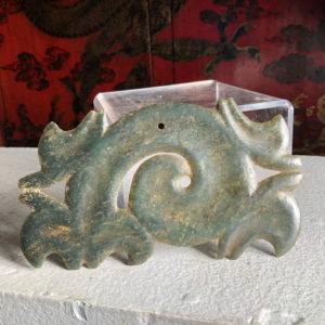 "Hongshan Culture Jade ""Double Dragon"" Cloud Ornament"