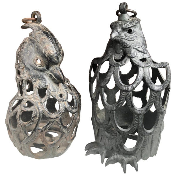 "Pair of ""MALE & FEMALE EAGLE"" Flower Garden Lanterns"