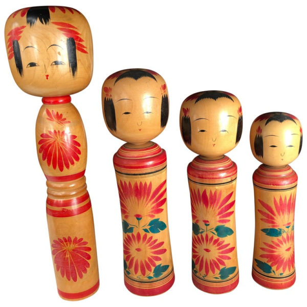 Family Four Big Old Japanese Famous Kokeshi Dolls, Hand Painted, Signed