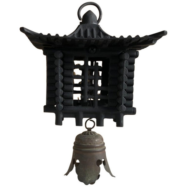 """Large Antique """"Mountain Lantern"""" and Wind Chime"""