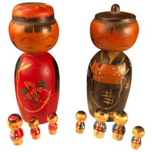 "Family Nine Old ""KOKESHI DOLLS"" Famous Bobble Heads And Children"
