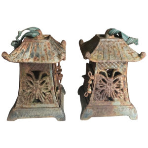 "Rare Pair Old ""Butterfly"" Flower Garden Lanterns"