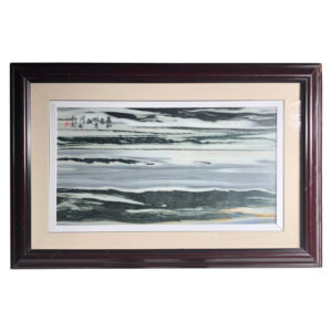 Ocean Waves & Mountains Natural Stone Painting