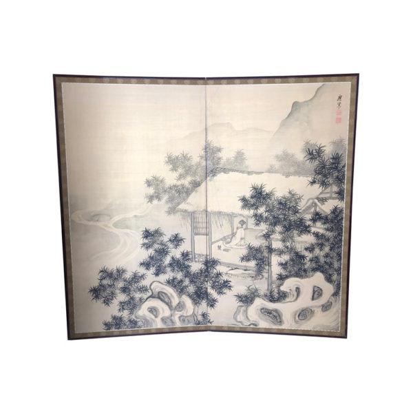Peaceful Zen Silk Screen, Scholar, Bamboo, and Water Fall