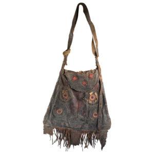 """Antique Tuareg Handcrafted Leather """"Camel Eye"""" Shoulder Bag Old African Desert"""