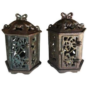 "Japan Old Pair ""Butterfly"" Flower Garden Lanterns"