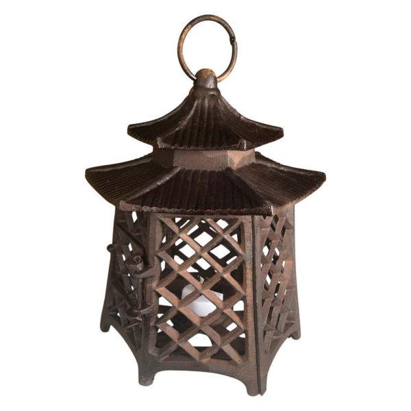 "Antique Hand Cast Lantern ""Double Pagoda"" Motif"