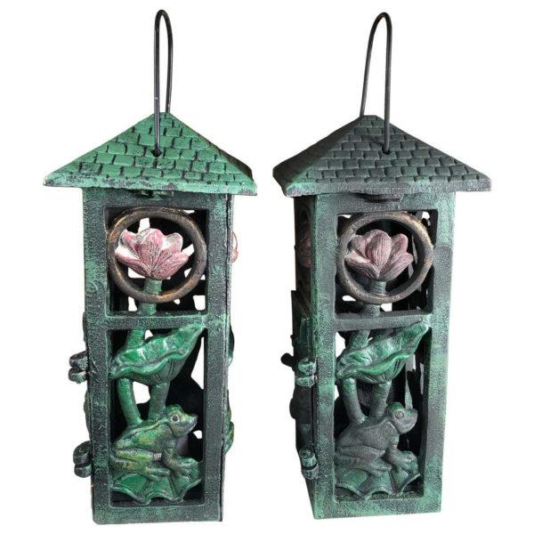 """Japanese Pair """"Lotus & Frog"""" Garden Lanterns"""