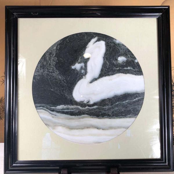 "Chinese SWAN MASQUERADE Extraordinary Natural Stone ""Painting"""