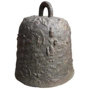 "Japanese Antique ""Guanyin & Dragons"" Hand Cast Bronze Temple Bell"